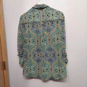 New York & Company Tops - New York & Company Paisley Button Down Shirt Green